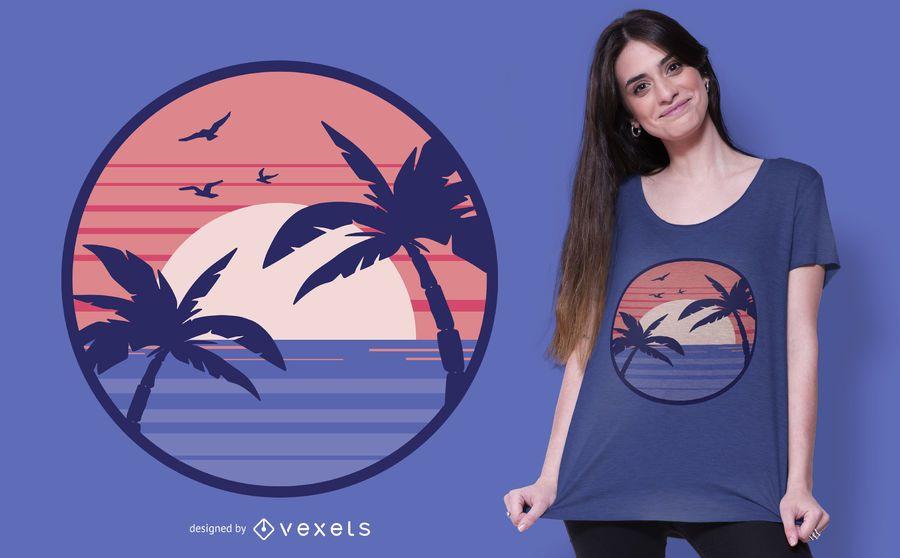 Diseño de camiseta de playa al atardecer