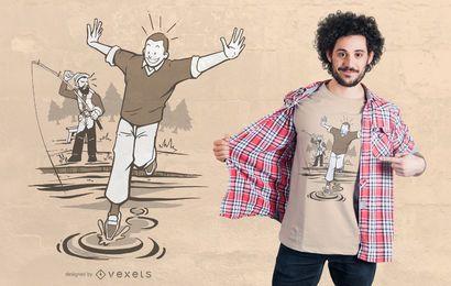 Diseño de camiseta de pescador a pie de agua