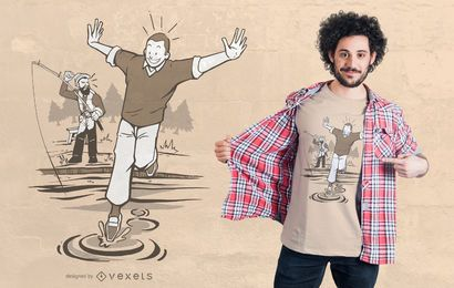 Diseño de camiseta Water Walk Fisherman