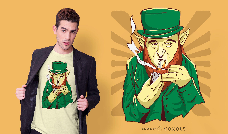 Design de camisetas do Leprechaun da maconha