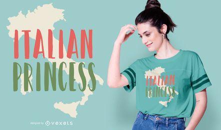 Diseño de camiseta con cita de princesa italiana