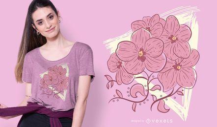Diseño de camiseta de flores de triángulo de grunge