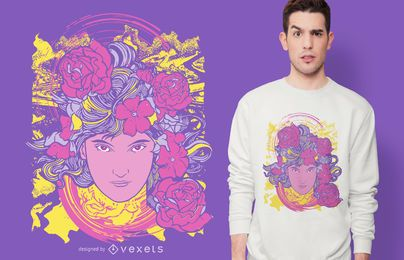 Trippy Girl Blumen T-Shirt Design