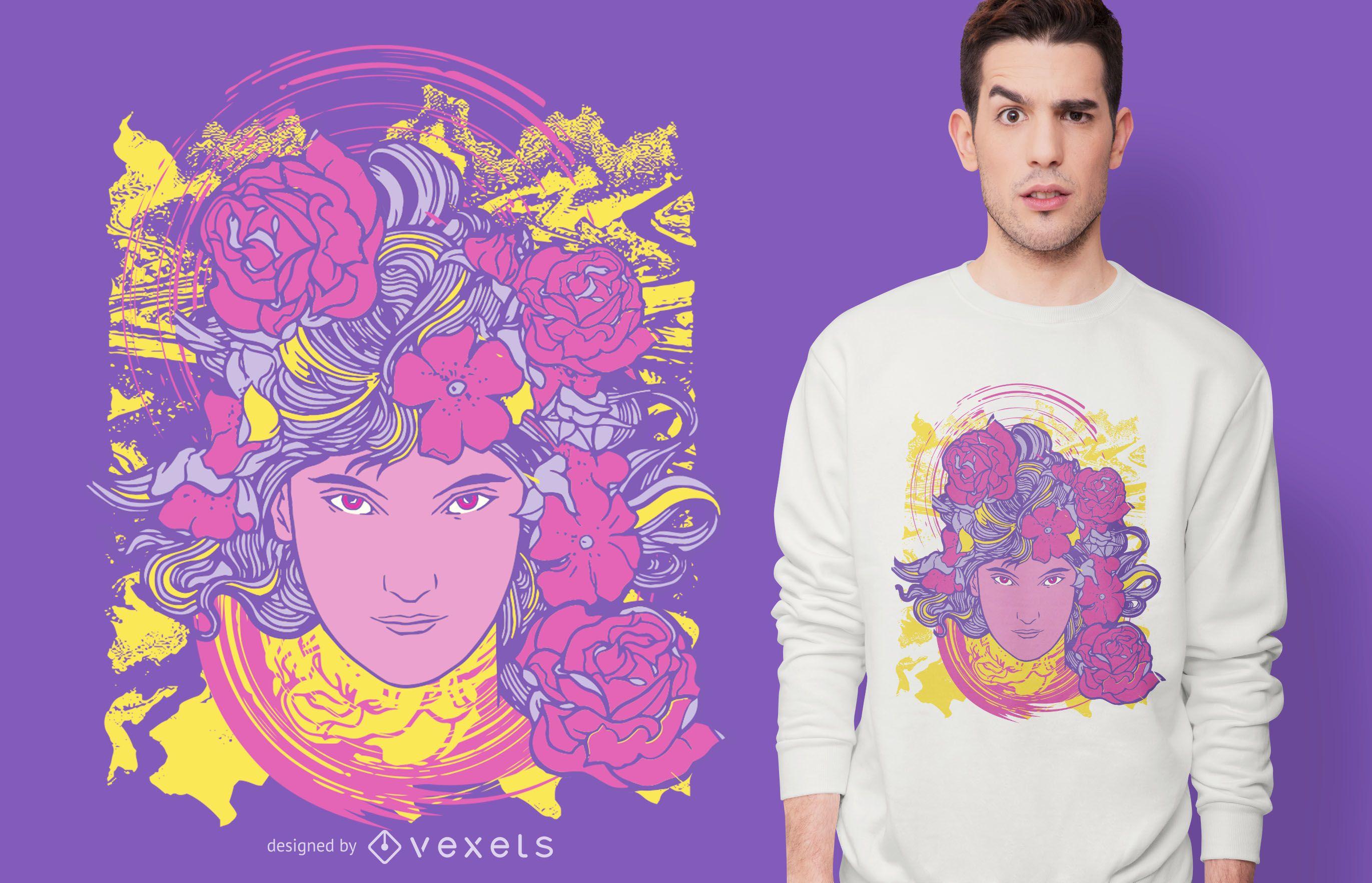 Trippy Girl Blumen T-Shirt Design