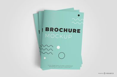 Closed Brochure Stack Mockup Design