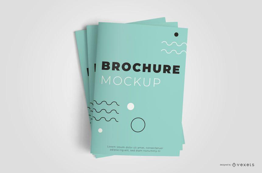 Closed Brochure Stack Mockup Design