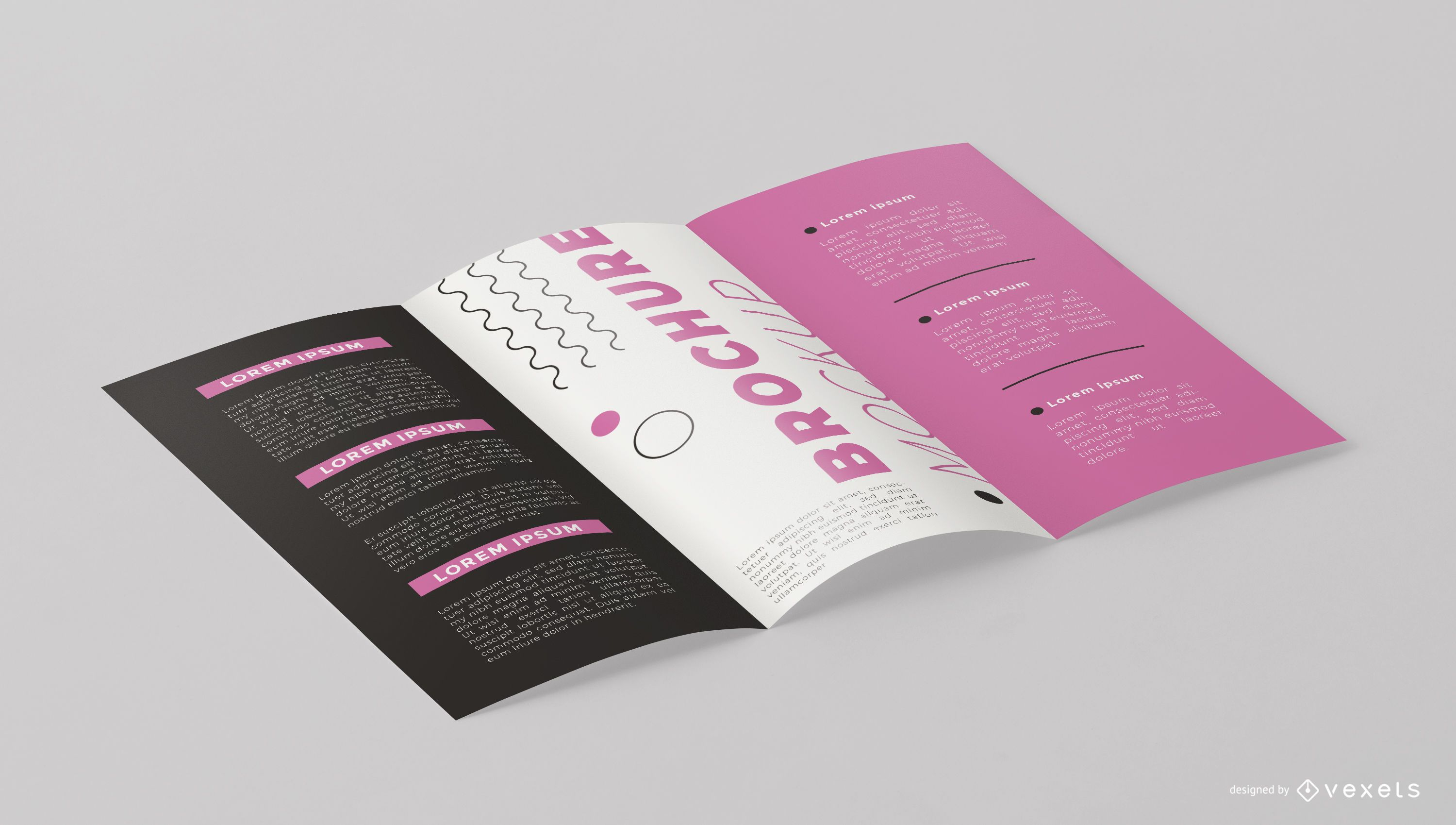 Open Brochure From Angle Mockup