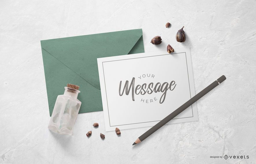 Card With Envelope Mockup Design