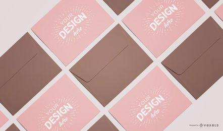 Maquete de composição de cartão de envelope personalizado