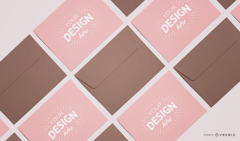 Custom Envelope Card Composition Mockup