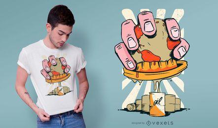 Design de t-shirt de espremedor de óleo de planeta