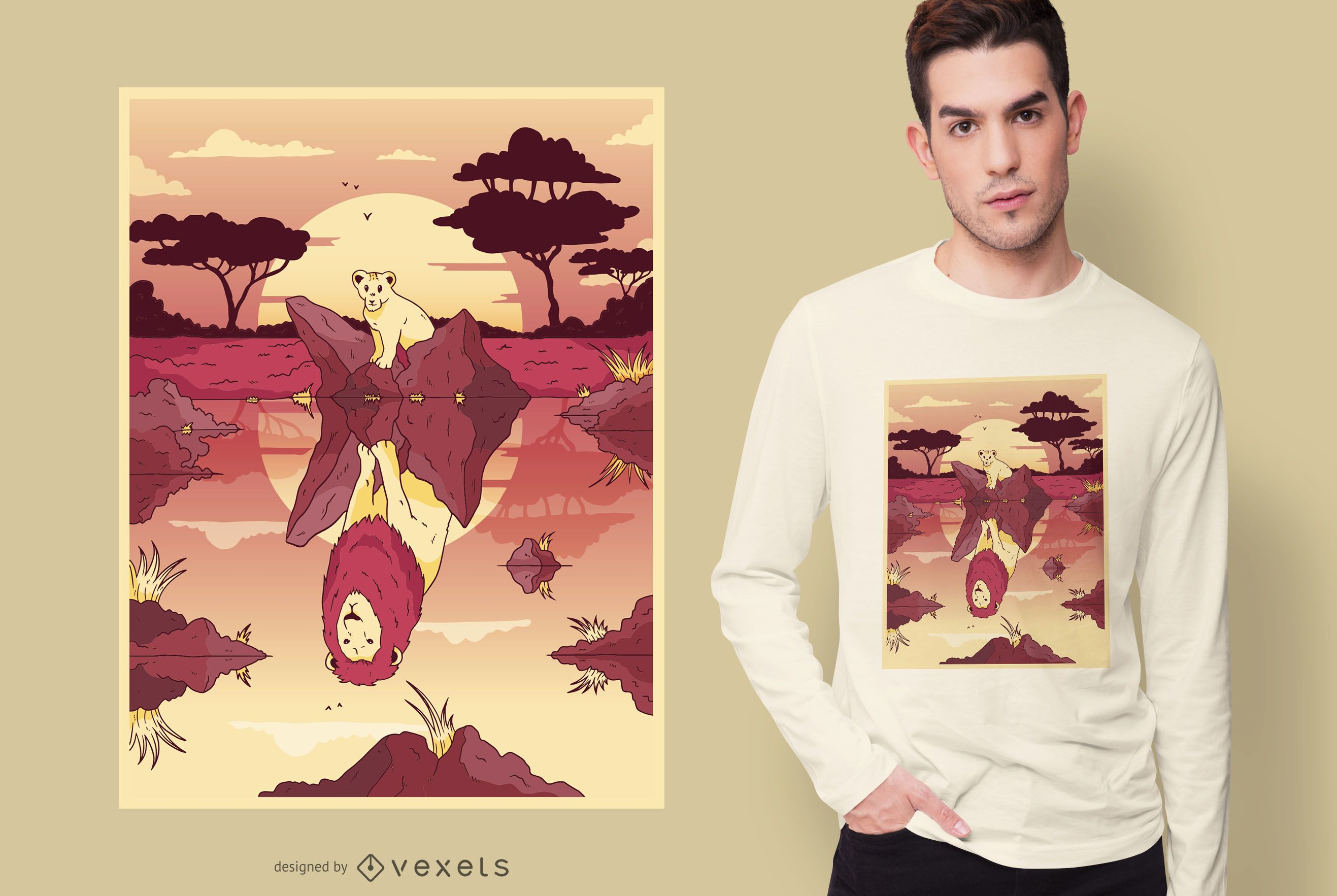 Diseño de camiseta Lion Pool Reflection