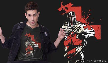 Projeto do t-shirt do cavaleiro da cruz vermelha