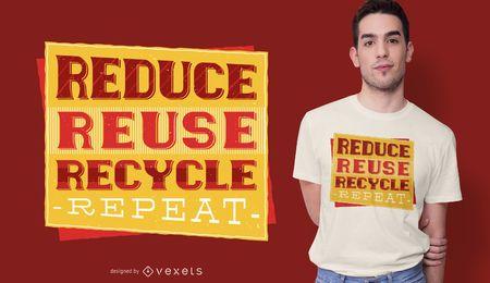 Diseño de camiseta roja de reciclaje