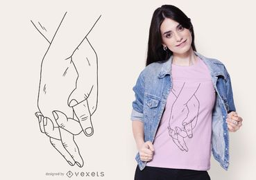 Diseño de camiseta de manos agarradas