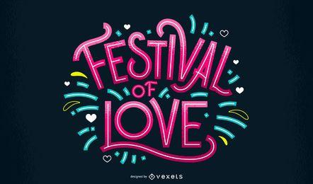Holi love festival lettering design
