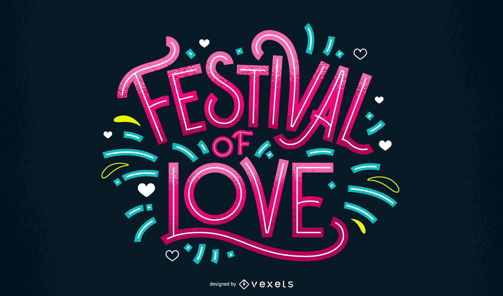 Diseño de letras del festival holi love