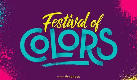 Holi Festival der Farben Schriftzug