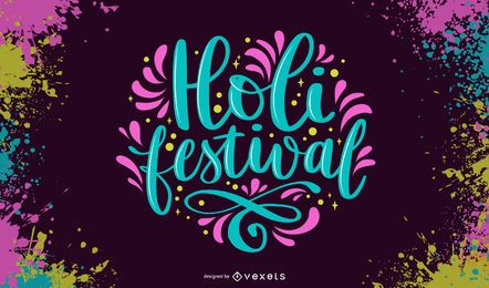 Holi festival colorful lettering