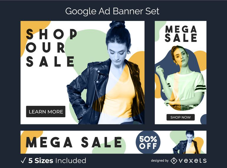 Model abstract ad banner set