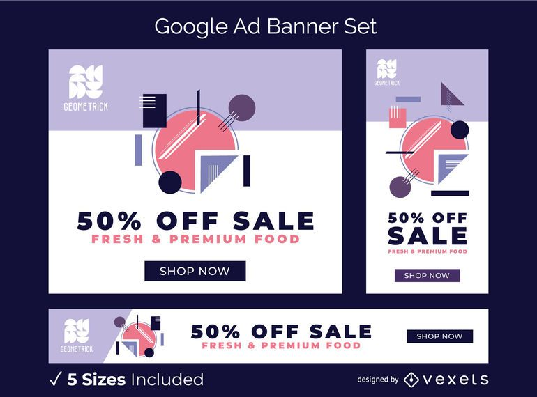 Geometric ad banner set