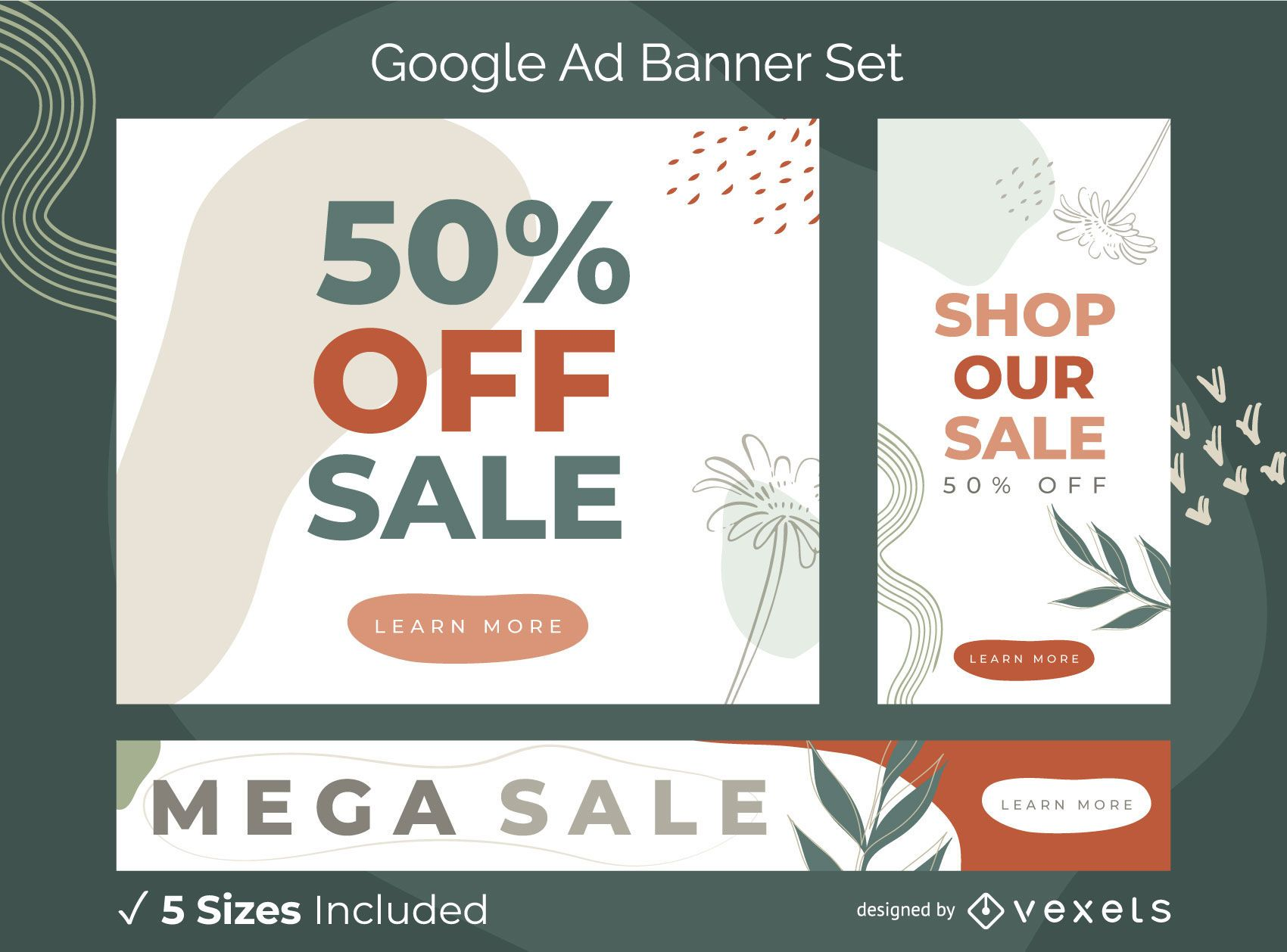 Abstract nature ad banner set