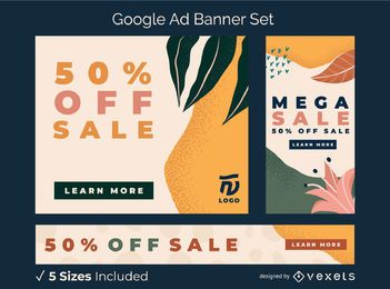 Abstract organic ad banner set