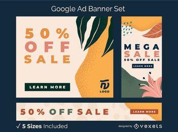 Conjunto de banner de anúncio orgânico abstrato