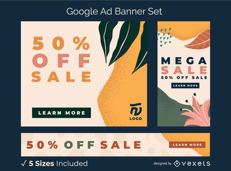 Abstract organic ad banner set