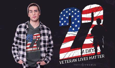 Diseño de camiseta de cita de veterano