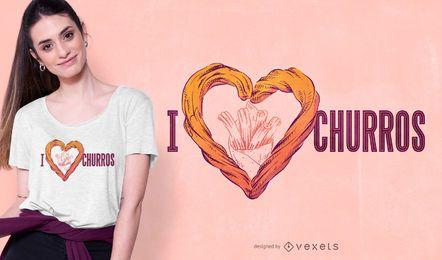 Diseño de camiseta love churros