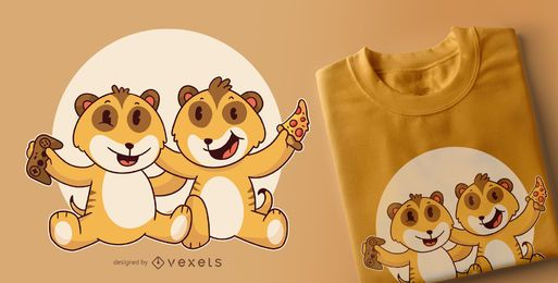 Diseño de camiseta de bebé suricatas