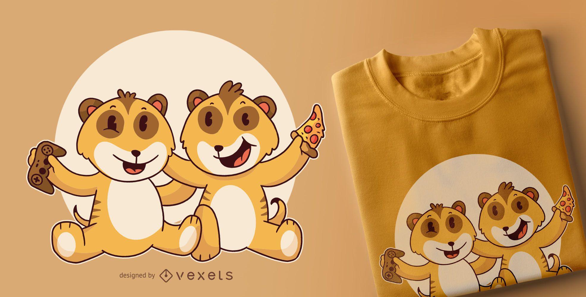 Dise?o de camiseta beb? suricatas