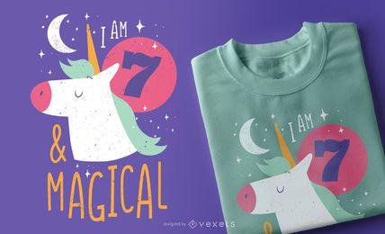 Design de t-shirt de unicórnio de aniversário
