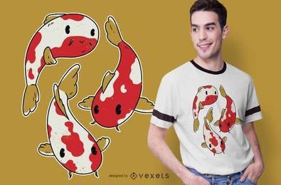 Diseño de camiseta de peces koi