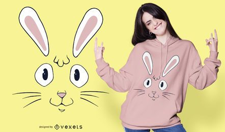 Diseño de camiseta cara de conejo