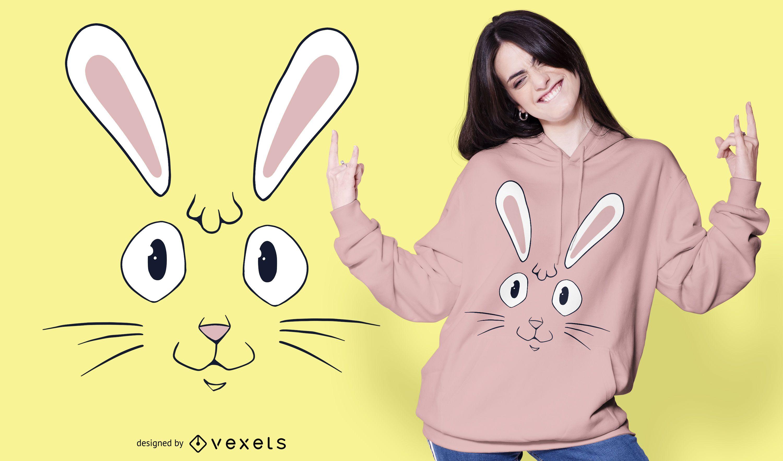 Dise?o de camiseta con cara de conejo.