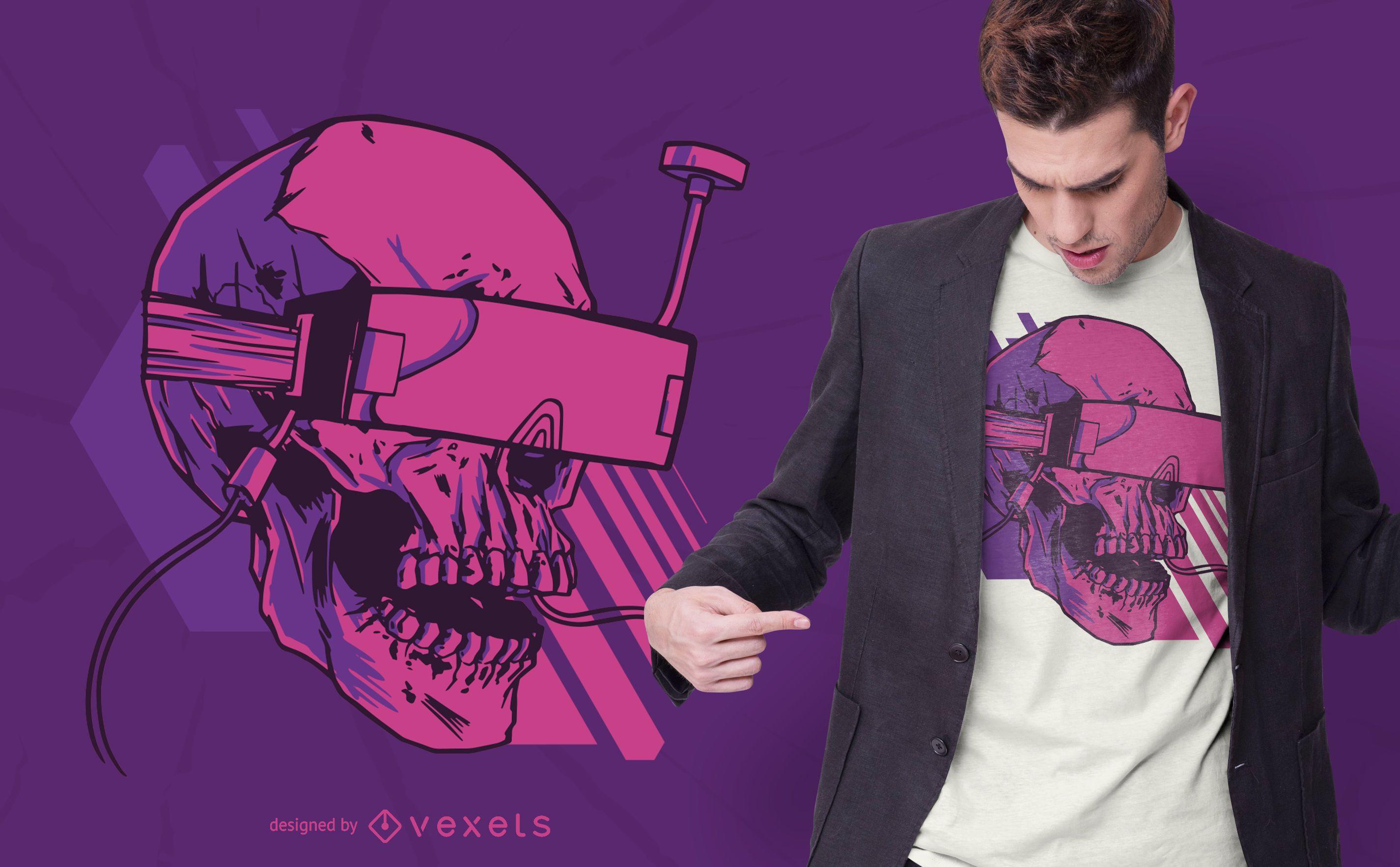 Design de camiseta com caveira fpv