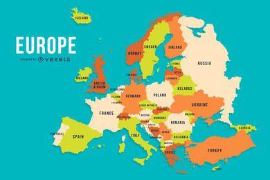 Diseño de mapa de país de color de Europa