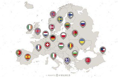 Mapa da bandeira de país continente da Europa