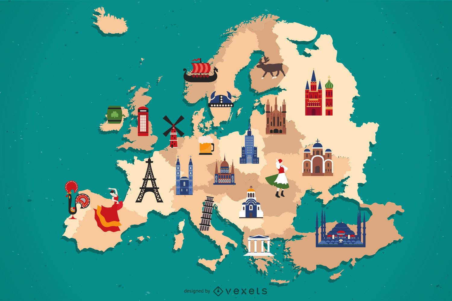 Europe Map Country Elements Design