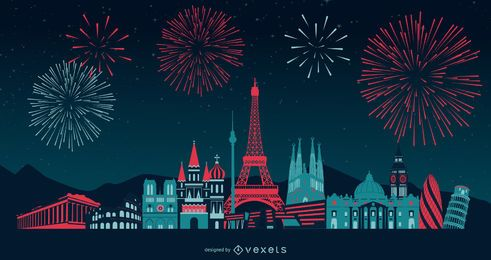 Design de horizonte de fogos de artifício na Europa