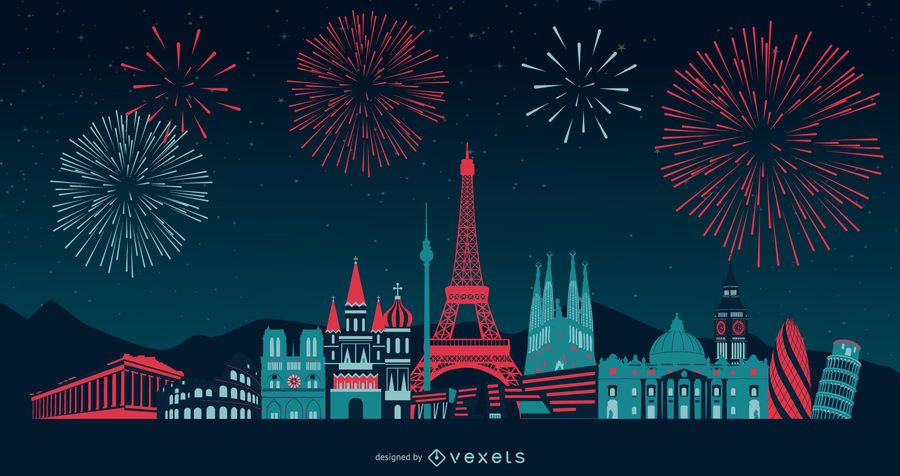 Europe Fireworks Skyline Design
