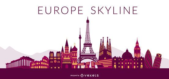 Europe Colored Skyline Design