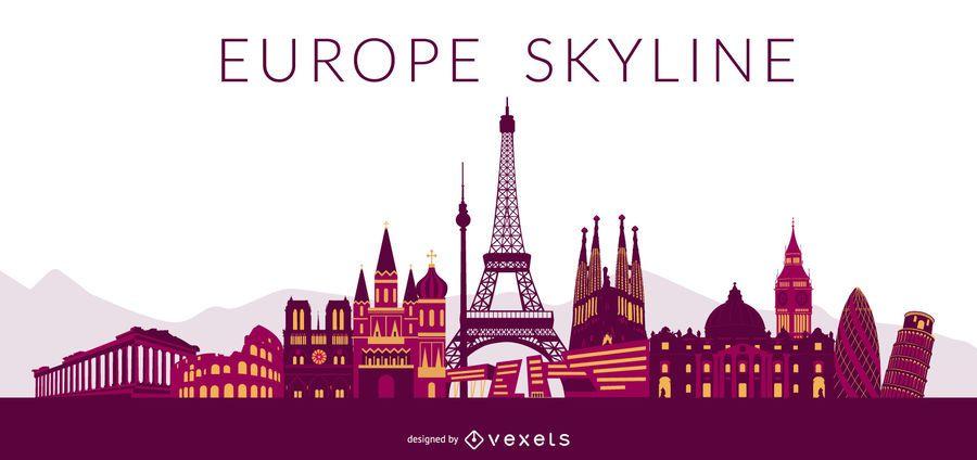 Europe Colored Skyline Design
