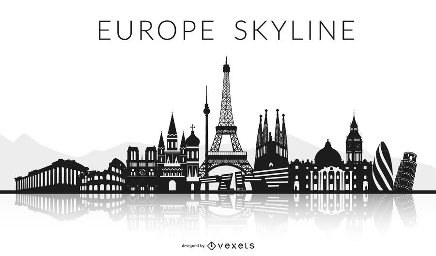 Black Europe Skyline Design