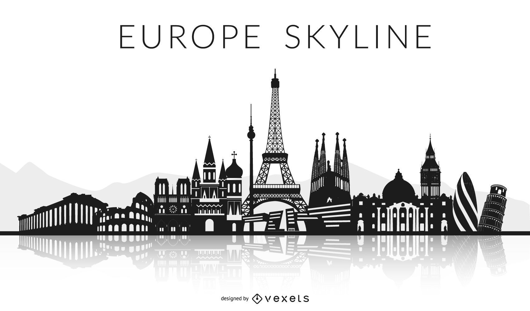 Black Europe Skyline Design