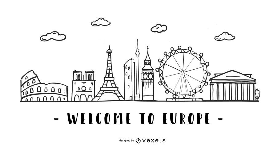 Europe Stroke Skyline Design