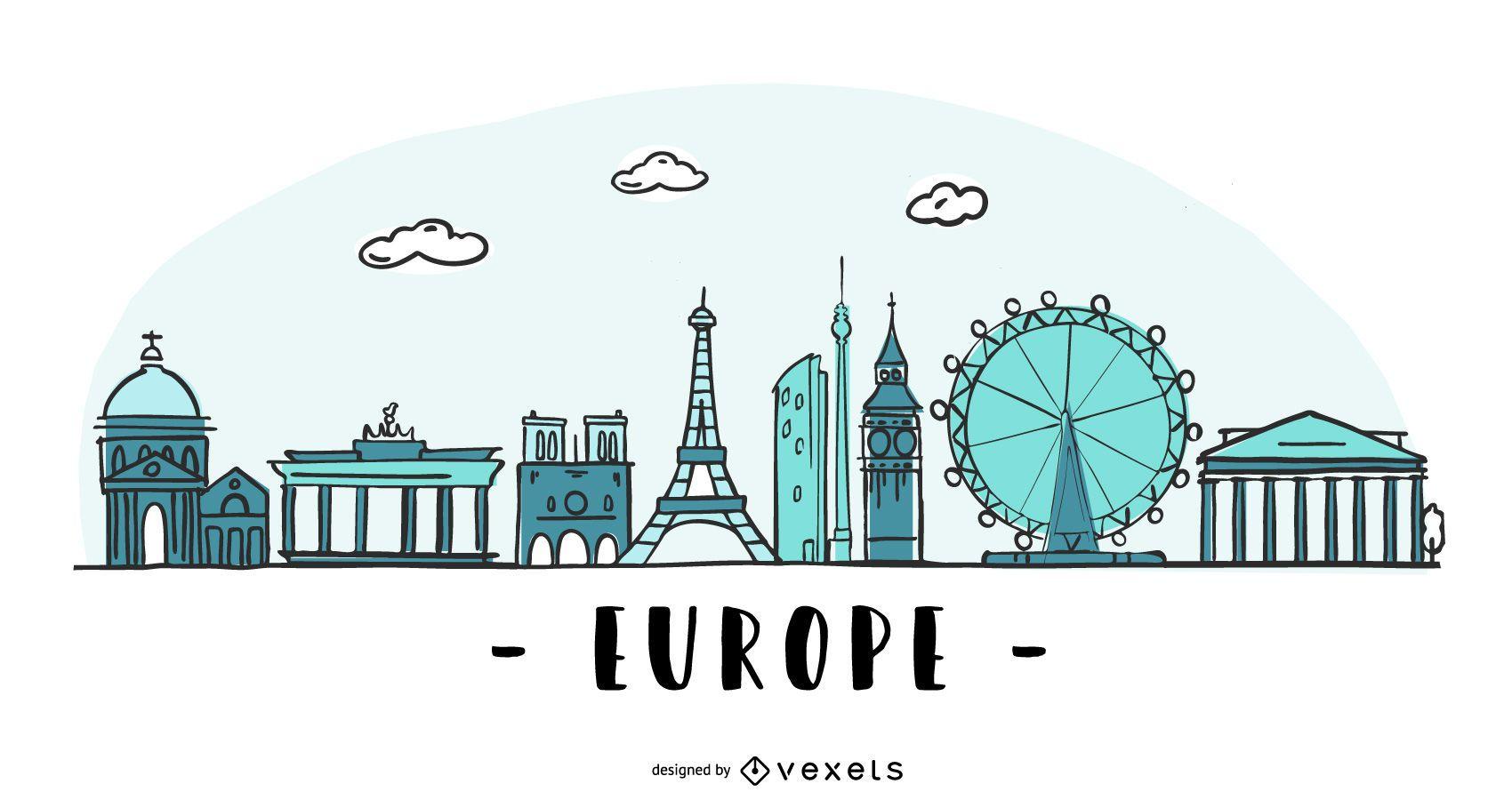 Europe Colored Skyline Illustration
