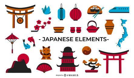 Colección de elementos planos de cultura japonesa